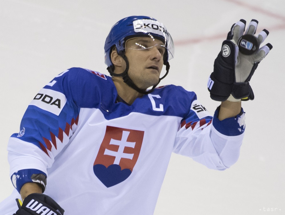 Na snímke Andrej Sekera (Slovensko) v zápase základnej A-skupiny Veľká Británia - Slovensko na 83. majstrovstvách sveta v ľadovom hokeji v Košiciach 18. mája 2019.