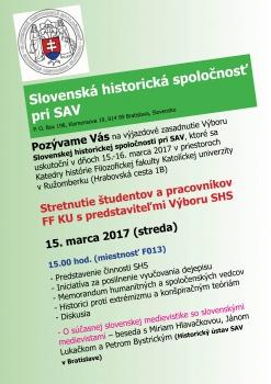 KU privíta Výbor Slovenskej historickej spoločnosti pri SAV