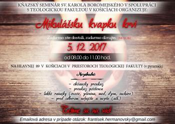 Mikulášska kvapka krvi na Teologickej fakulte v Košiciach