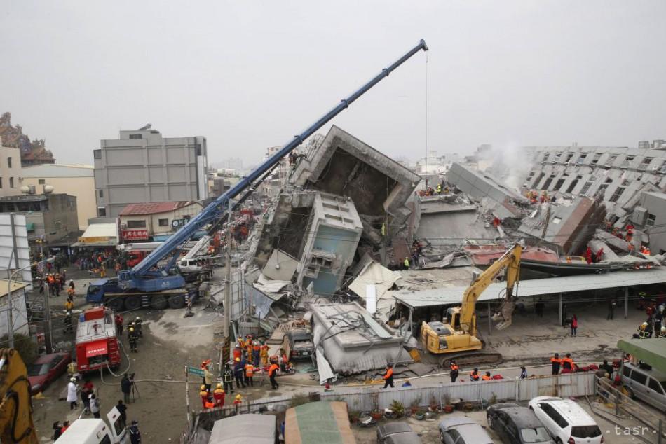 Po zemetrasení na Taiwane hlásia 37 mŕtvych a vyše 110 nezvestných